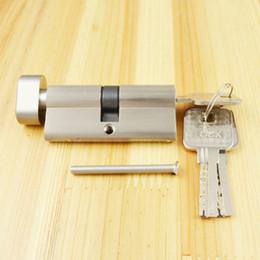 Spazzola di tornitura online-Cilindro di blocco Cilindro a pollice Cilindro 70mm (35/35), Cilindro di blocco con manopola con 3 chiavi, nichel spazzolato