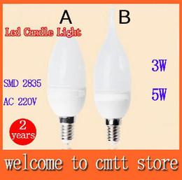 Wholesale Cree Led Types - 6pcs 3w 5w Led Candle light E14 SMD 2835 Led lamp AC220V round fire type 360 beam angle 2 years warranty free shipping