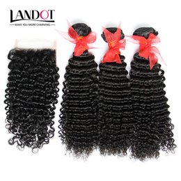 Wholesale Ombre Kinky Curly - 4Bundles Lot Virgin Brazilian Kinky Curly Hair Weave With Lace Closure Unprocessed Malaysian Peruvian Indian Mongolian Curly Remy Human Hair