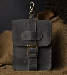 Wholesale Leather Waist Pouches Mens - Retro Oil Wax&Crazy Horse Genuine Leather Mens Waist Bag Travel Fanny Pack Belt Loops Hip Bum Bag Wallet Purses Phone Pouch