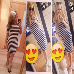 Wholesale Wholesale Half Pencils - Women Summer Dress Lady Sexy Half Sleeve Off Shoulder Stripe Stretch Bodycon Party Pencil Dresses Cotton Blend S-XL Vestido