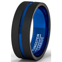 Wholesale Mens Tungsten Brushed Rings - Hot Selling New arrival 8mm black and blue two tone tungsten carbide wedding ring brushed finish mens wedding band alliance