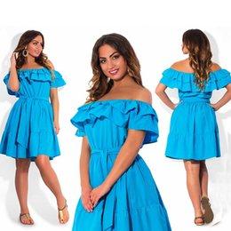 Wholesale Summer Dress Large - Wholesale-Elegant ruffle Off Shoulder women dresses large size casual women summer dress plus size sexy party dresses Vintage vestidos