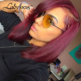 Wholesale Red Human Hair Lace Fronts - Lady Focus Burgundy Full Lace Wigs With Baby Hair Straight Bob Human Hair Wigs Red Wine Lace Front Wig For Black Women