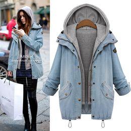 Wholesale Women Denim Suits - Wholesale- 2016 New Fashion Autumn Winter Warm Ladies Coats Women Outerwear Suits 2 Pieces Denim Jacket Plus Size Hat Sweatshirts M-4XL