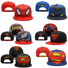 Wholesale Superman Snapback Cap - new unisex superman batman cartoon baseball cap Hip-hop hat DJ hat snapback wholesale Snapbacks adjustable Hats Men Caps Women Ball Caps
