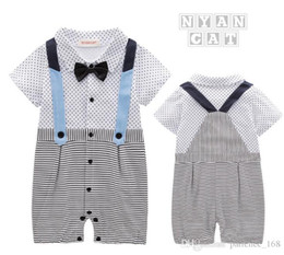 Wholesale Tie Downs Straps - New style summer style Baby kids cute Gentleman short sleeve False straps garment bow tie boy stripe and dot romper 100% cotton kids romper