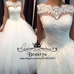 Wholesale Simple White Corset - Charming Lace Pearls Ball Gown Wedding Dresses Custom Made Plus Size Sheer Sleeveless Sexy Backless Corset White Tulle Bridal Gowns 2018