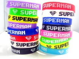 Wholesale Men S Link Bracelets - Brand New 50pcs mixed colors super man S multicolor silicone jewelry band wristbands bracelets wholesale lots