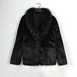 Männer pelz schal online-Neue schwarze Faux-Pelz-Jacke für Männer-Pelz-Schal-Kragen Langarm beiläufiger Wintermäntel formale Partei Outwear Weihnachtsgeschenk für Ihn