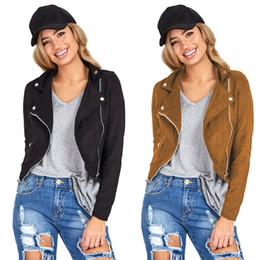 Wholesale leather biker jackets wholesale - Wholesale- New Arrival 2016 Brand Casual Women Short Winter Long Sleeve Slim Biker Motorcycle Cropped Faux Leather Jacket Jaqueta Feminina