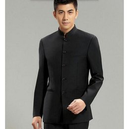 Wholesale Chinese Custom Suits - Wholesale- Chinese Collar Suit Jacket For Men New Mandarin Collar Slim Fit Blazers Male Wedding Jackets high quality custom