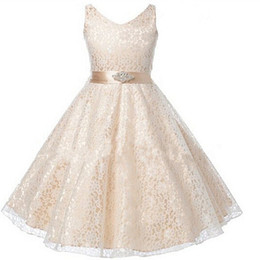 Wholesale Rhinestone Appliques For Pageant Dresses - 2016 Long White Flower Girl Dresses for Weddings Pageant Party Ball Gown Birthday First Communion Dresses for Girls Evening Gown