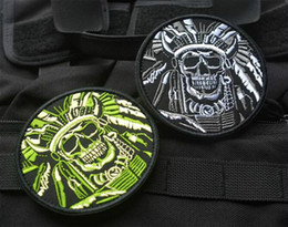 Wholesale Chief Skull - High quality Death Skull War Chief Indian USA Army Morale Military Tactical SWAT 3D Embroidered patches military armband badge VP-40