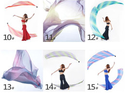 Wholesale Belly Poi - Belly Dance Veil Poi 1 SET = 1Veils + 1Poi Chains Multicolour 31 colors Belly dance accessories belly dance handball fabric gifts
