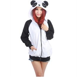 Wholesale Cartoon Character Costume Panda - Wholesale- Cartoon Panda Sweatshirts Long sleeve with zipper hat Cosplay Panda Costume Men Women Hoodies Anime Cosplay Costume Sweatshirts