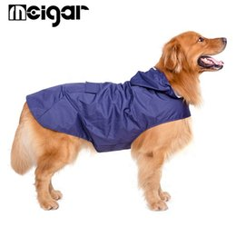 Wholesale Raincoat Women Large - Large Dog Raincoats Super Waterproof Hooded Rain Jacket 3XL-5XL Reflective Pet Raincoats