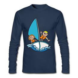 Nouvelle photo de chemises en Ligne-Nouveau Coming Man T-shirt Voilier Cartoon Image Chemises 2017 Printemps Automne À Manches Longues T Shirts Tops