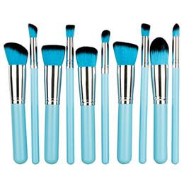 set de pinceles de maquiagem blue sky cosméticos Desconto 10 pcs Professional Eye Blush Rosto Escova Céu Azul Cabelo Sintético Céu Azul De Madeira Cosméticos Ferramentas de Maquiagem Brushes Set