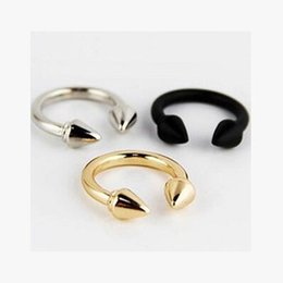 Wholesale Rivets Gun - Fashion accessories gold silver gun black plated rivets finger punk small midi mini ring for women men gift