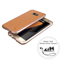 Wholesale New Aluminum Metal Hard Case - New Hybrid Hard Case Luphie Luxury Aviation Aluminum Frame + PU Leather Back Cover Cases for Samsung Galaxy S7 S7 Edge