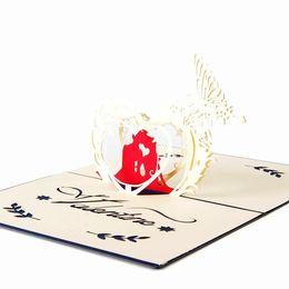 Wholesale Kirigami 3d Wedding - hot sale Handmade Creative Kirigami Origami 3D Valentine's Day birthday wedding Invitations Gift Greeting Cards Free Shipping
