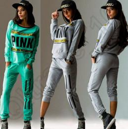 Wholesale Yoga Pants Colors - Women Pink Tracksuit Hoodies Sweatshirt Pants SportWear Tracksuit Jogging Sport Suit Cardigan Costume Sets 2 colors OOA864 10pcs