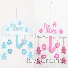 Wholesale Baby Girl Birthday Party Decorations - New Arrivals -1pcs lot Blue Pink Color Cute Non woven Boy & Girl Baby Showers Christenings Baby Birthday Party Supplies Hanging Decoration