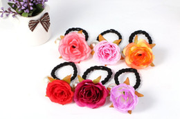Wholesale Hair For Party Korean - New simulation rose flower hair band Hair rings Korean Pearl hair accessories cloth for Kids and Adult headdress Lashing horsetail Hair Rope