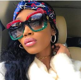 Wholesale Large Frame Fashion Glasses - 2018 Luxury Italian Brand design Oversized Sun Glass Square Sunglasses Women Retro Large Frame Shades Female green red sunglass gafas Oculos