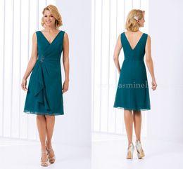 Wholesale Teal Evening Dresses Images - 2016 Green Teal Mother Of The Bride Dresses Jasmine V Neck Short Knee Length Chiffon Formal Evening Prom Dress Wedding Party