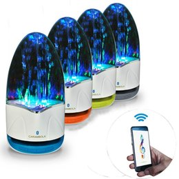 Wholesale Iphone Water Fountain Speakers - Wholesale- 3.5mm Colorful Portable Bluetooth Speakers Wireless LED Music Fountain Water Dancing Speaker For iPhone iPad Phone Computer