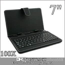 Wholesale Mid Keyboard For Tablet - 100X OEM Leather Case with Micro USB Interface Keyboard for 7 inch MID Tablet PC A-JP
