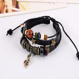 Wholesale Diy Pulseiras - Vintage Style Leather Note Charm Pulseiras Feminina Bracelet Bangles Pulseira Masculina Bohemia DIY Ethnic Handmade Jewelry