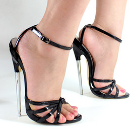 "Wholesale Sandal Sexy Gold Blue - Wonderheel 2016 summer Extreme high heel 18cm heel BLACK Sexy fetish High Heel ankle STRAP WOMEN SANDALS with 7"" metal heel"