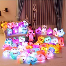 Wholesale relax pillow - Romantic Plush LED Light Pillow Colorful Cartoon Glow Relax Cushion Girls Gift 20pcs Free Shipping