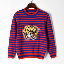 Wholesale Tiger Cashmere - 2017 Fashion New Autumn Winter Women Kintwear Stripe Tiger Head Embroidery Knitted Cashmere Sweater Women's Casual Pullovers