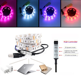 5V USB Multi-color RGB Strip Light Bias Iluminación TV Fondo Luces Kit Cuttabl 60LEDs por metro con controlador RGB desde fabricantes