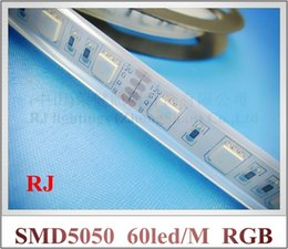Wholesale Free Flexible Tube - waterproof RGB LED strip light SMD 5050 LED flexible strip DC12V SMD5050 60 led   M IP65 with silicone tube free shipping