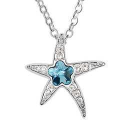Wholesale Starfish Rhinestones - Korea Trendy Jewelry Starfish Short Necklace For Women Made with Swarovski Elements Crystal Pendant Necklace Charm Jewelry 5980