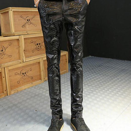 Wholesale Leather Joggers Men - Wholesale-New Fashion Men's Biker Leather Pants Snake Skin Patchwork Thick Skinny Motorcycle Faux Leather Joggers Black PU Trousers Male