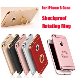 Wholesale Iphone Chrome Ring - For iPhone 7 7plus 6 Shockproof 3 in 1 Rotating Ring Stand Armor Hard Back Case Chrome Cover For iphone6 6plus DHL SCA151