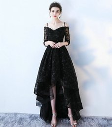 Wholesale Building Model Making - Sexy Black Lace Prom Dresses 2017 New Sexy Sweetheart 3 4 Long Sleeve Beach Built-In Bra Formal Women Evening Gown Long Prom Dress
