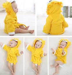 Wholesale Children S Hooded Towels - Baby Pajamas Children 's bathrobes absorbent cotton cap towel expected Kids Clothing solid color pajamas for baby