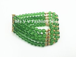 Wholesale Wholesale Nigerian Jewelry - 2016 new green 100% natural round 6mm crystal beads 5 rows african jewelry nigerian wedding bracelet for women party wedding gift