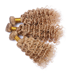 Wholesale Blonde Curly Hair Weave - 8A Grade Malaysian 27 Blonde Hair Weaves Deep Wave Honey Blonde Human Hair 3 Bundles Deep Curly Extensions On Sale