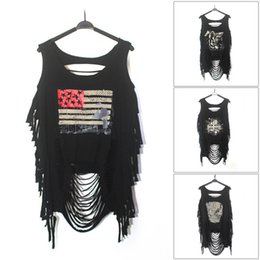 Wholesale Skull Blouse Wholesale - Summer Women Punk Ripped Skull Printing Vest Sleeveless Blouse Tank Tops Shirt