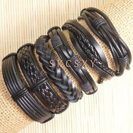 Wholesale China Handmade Leather Charm Bracelets - Free shipping handmade wholesale (6pcs lot) cool bangles ethnic tribal Wrap Multilayer genuine adjustable leather bracelet for men-TE89