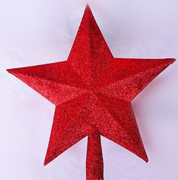 Cima d'albero di natale d'argento online-Gli ornamenti dell'albero di Natale L'albero top star 20cm Golden Red Silver star per le forniture di Natale 10 pz / lotto