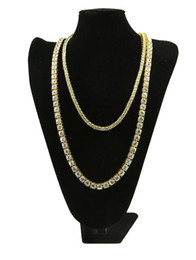 Wholesale Ruby Days - Mens Gold Iced Out Tennis Chain Set 5mm and 8mm Width Lab Diamond Solitaire Tennis Chain Necklace